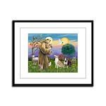 St Francis - 2 Bull Terriers Framed Panel Print