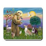 St Francis - 2 Bull Terriers (10-11) Mousepad