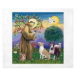 St Francis - 2 Bull Terriers (10-11) King Duvet