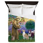 St Francis - 2 Bull Terriers (10-11) Queen Duvet