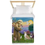St Francis - 2 Bull Terriers Twin Duvet Cover