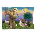 St Francis - 2 Bull Terriers (10-11) Pillow Case
