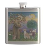 St Francis - 2 Bull Terriers (10-11) Flask