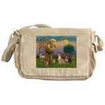 St Francis - 2 Bull Terriers (10-11) Messenger Bag
