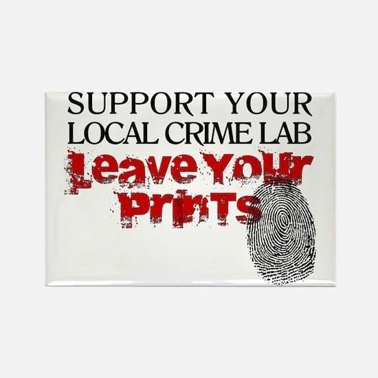 Crime Lab - Leave Your Prints Rectangle Magnet