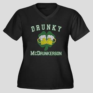 Drunky McDrunkerson Women's Plus Size V-Neck Dark