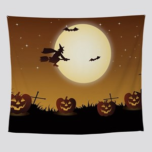 Halloween Scene Witch Wall Tapestry