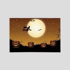 Halloween Scene Witch 4' x 6' Rug