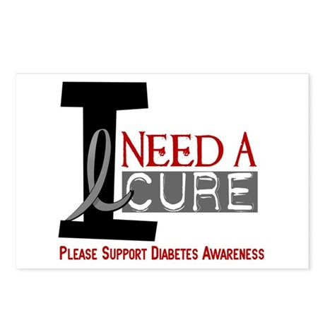 I Need a Cure Diabetes Postcards (Package of 8)