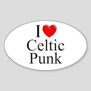 """I Love (Heart) Celtic Punk"" Oval Sticker"