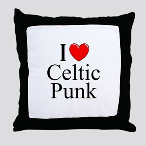 """I Love (Heart) Celtic Punk"" Throw Pillow"