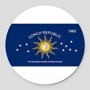 Conch Republic Plate Round Car Magnet