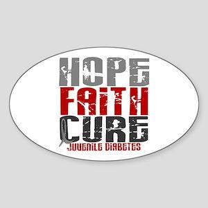 HOPE FAITH CURE Juvenile Diabetes Oval Sticker