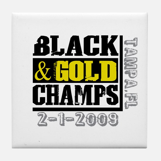 Black and Gold Champs Tile Coaster