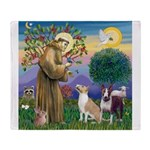 St Francis-2 Bull Terriers Throw Blanket