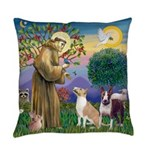 St Francis-2 Bull Terriers Everyday Pillow
