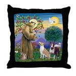 St Francis-2 Bull Terriers Throw Pillow