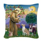 St Francis-2 Bull Terriers Woven Throw Pillow