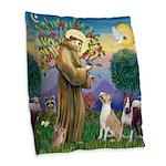 St Francis-2 Bull Terriers Burlap Throw Pillow