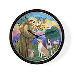 St Francis-2 Bull Terriers Wall Clock