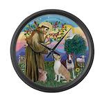 St Francis-2 Bull Terriers Large Wall Clock