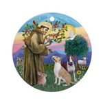 St Francis-2 Bull Terriers Round Ornament