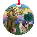 St Francis-2 Bull Terriers Ornament