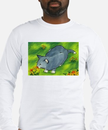 gray cat and flowers Long Sleeve T-Shirt