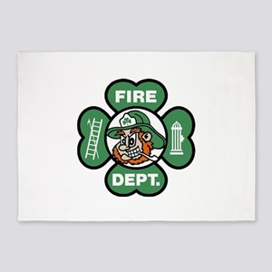Irish Fire Dept Shamrock 5'x7'Area Rug