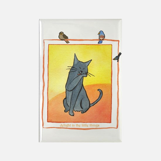 Cat-Delight in the Little Things Rectangle Magnet