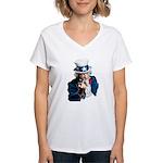 Uncle Sam Middle Finger Women's V-Neck T-Shirt