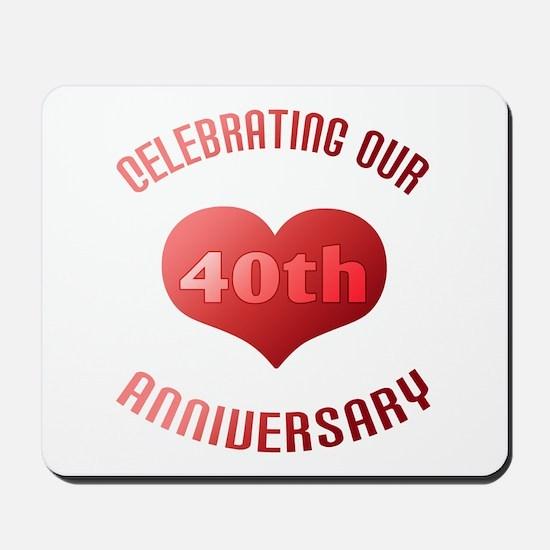 40th Anniversary Heart Gift Mousepad