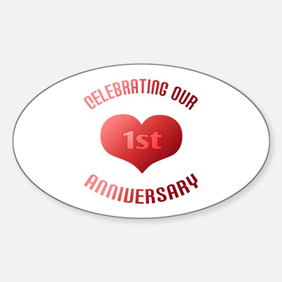 1st Anniversary Heart Gift Oval Decal
