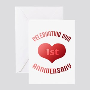 Happy 1st anniversary greeting cards cafepress 1st anniversary heart gift greeting card m4hsunfo