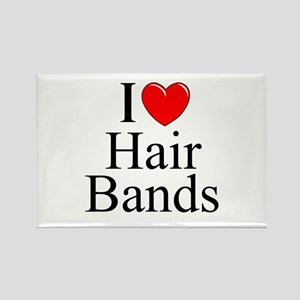 """I Love (Heart) Hair Bands"" Rectangle Magnet"