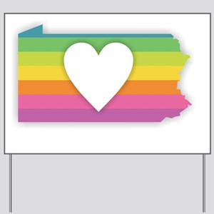 Pennsylvania Rainbow Heart Yard Sign