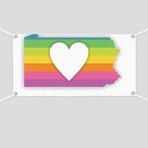 Pennsylvania Rainbow Heart Banner