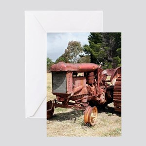 Old rusty tractor in the country Greeting Cards