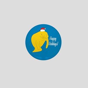 Manatee Holiday Mini Button