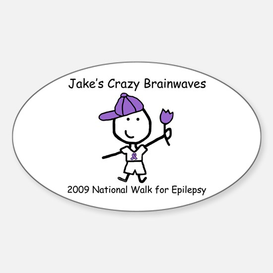 Jake's Crazy Brainwaves Oval Decal