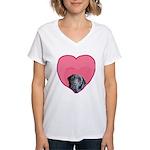 Black Lab Heart Dog Women's V-Neck T-Shirt