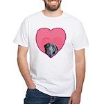 Black Lab Heart Dog White T-Shirt