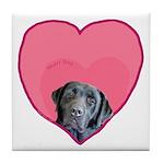 Black Lab Heart Dog Tile Coaster