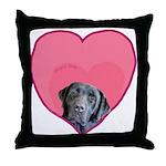 Black Lab Heart Dog Throw Pillow