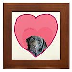 Black Lab Heart Dog Framed Tile