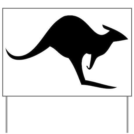 australian kangaroo black log Yard Sign