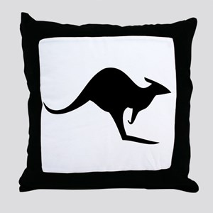 australian kangaroo black log Throw Pillow