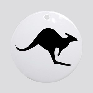 australian kangaroo black log Ornament (Round)