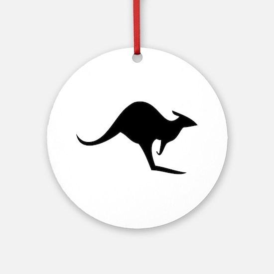 australian kangaroo black log Ornament (Round)