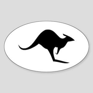 australian kangaroo black log Oval Sticker